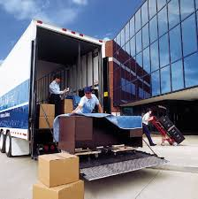 loading truck near office building